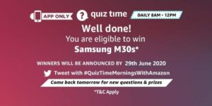 Amazon Quiz 29th June 2020