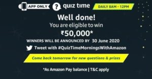 Amazon Quiz 30th June 2020