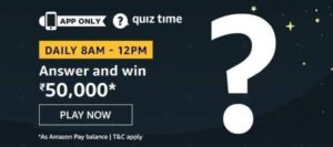 Amazon Quiz 26th June 2020