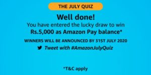 Amazon July Quiz Answers
