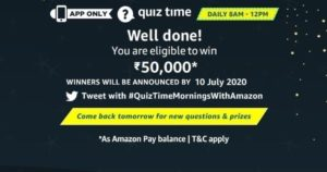 Amazon Quiz Answers 9th July 2020