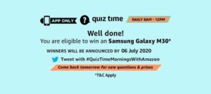 Amazon Quiz 6th July 2020