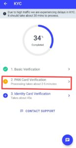 CoinSwitch PAN Card Verification