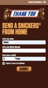 Send a snickers from home