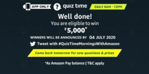 Amazon Quiz 3rd July 2020