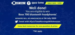 Amazon Quiz 4th July 2020