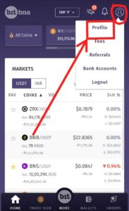 BitBns Profile Section