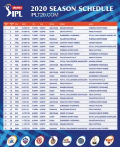 IPL 2020 Time Table 1