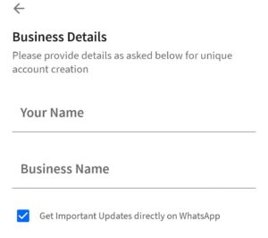 Enter Your Name And Business Name