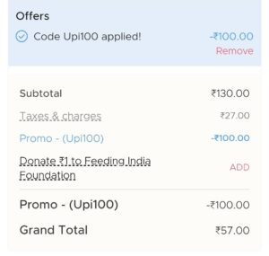 Get 100 Instant off on Min.129 order on zomato