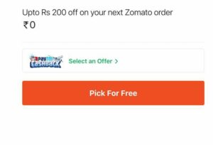 Zomato Flat 50% Off Upto ₹200 Coupon Offer