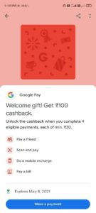Google Pay Welcome Gift